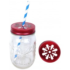 Daisy Cut Mason Jar Lids (Red)