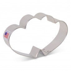 "Double Heart Cookie Cutter Flour Box Bakery 3"" x 4 5/8"""