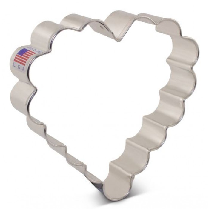 "Scalloped Heart Cookie Cutter 4"" x 4"""
