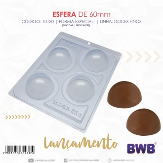 3 Part Mold for Perfect Sphere for Hot Chocolat Bomb - 10130 (60mm)