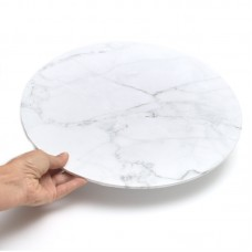 "Cake Board 14"" Masonite White Marble"