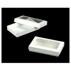 "Cookie / Oreo Box - White Two Piece Simplex Box Set with Window 7"" x 4 1/2"" x 1 1/4"" (Pick up only)"