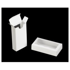 "Cookie / Oreo Box - White Double Favor Box with window 4 5/16"" x 2 1/4"" x 1"""