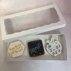 "Cookie / Pretzel Box - White Two Piece Simplex Box Set with Window 12"" x 5"" x 1 1/2"""