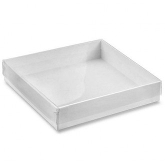 Clear Cover White Box Cookie Box (4*4*1)