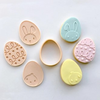Little Biskut Easter Egg Mini Cutter & Debosser Set