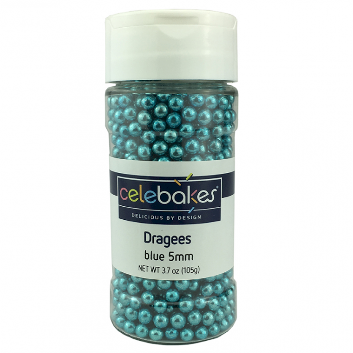 Celebakes Blue Dragees 5mm, 3.7 oz.