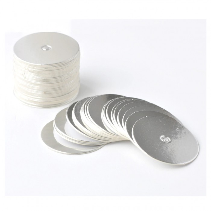 Mini Cake Board for Cakepops Circle  Foil Silver (50pcs)