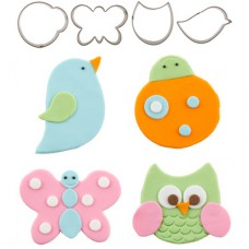 Cutie Cupcake Cutter Set - Fluttering Friends (owl, ladybug, bird, butterfly)