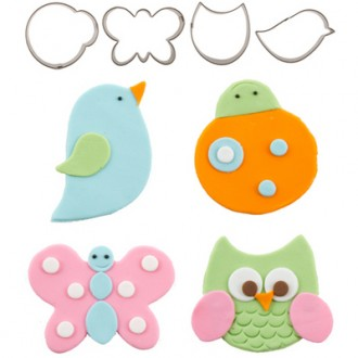 Cutie Cupcake Cutter Set - Fluttering Friends (owl, ladybug, bird, butterfly)