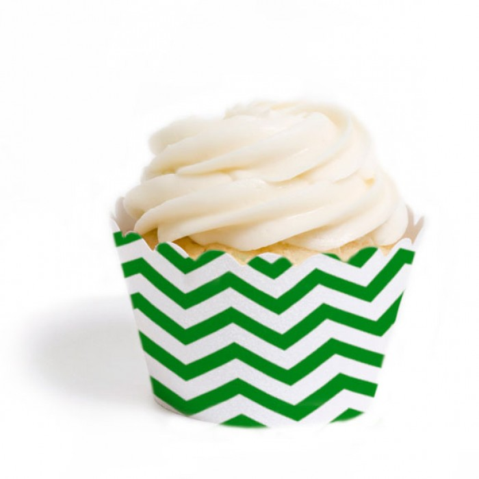 Kelly Green Chevron Cupcake Wrappers (12)