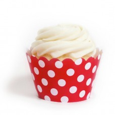 Red Polka Dots Cupcake Wrappers (12 Wraps)