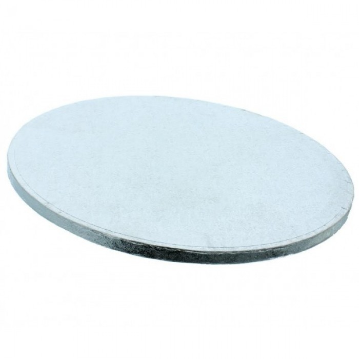 """Cake Drum Round Silver Foil, 8"""" x 1/2 Inches"""