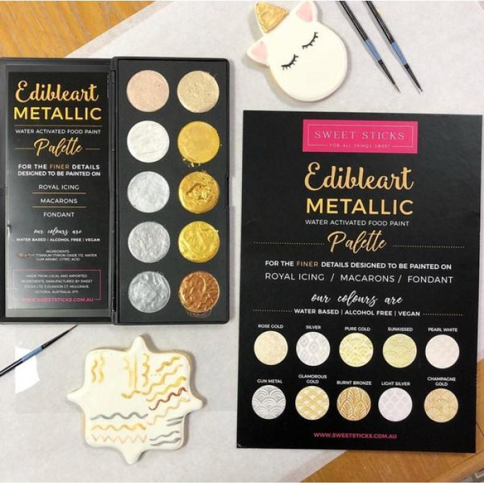 Edible Art Metallic Palette **VEGAN, WATER-BASED, ALCOHOL FREE**