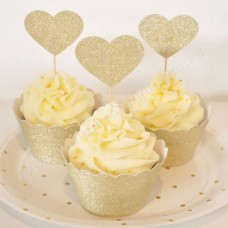 Gold Glitter Cupcake Wrappers (12)
