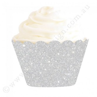 Silver Glitter Cupcake Wrappers (12)