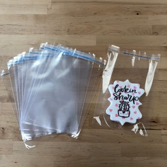 Cellophane Cookie Bags 5.25 X 7.25 Inch Flat Pack of 100 Resealable