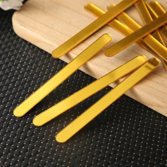 "Acrylic Sticks for Popsicle or Cake Sicle 4-1/2"" (Package of 12) Gold Mirror"