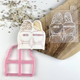 Soho Cookies Bride and Bridesmaid Style 2 Bridal Party Cookie Cutter and Embosser