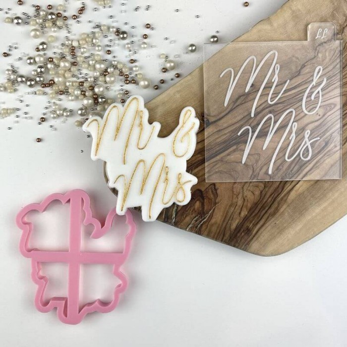 Mr & Mrs in Bluebell Font Wedding Cookie Cutter and Embosser