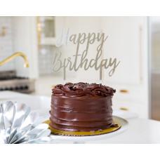 Basic Silver Happy Birthday Cake Topper