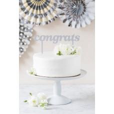 Basic Silver Congrats Cake Topper