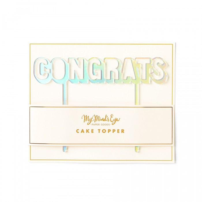 Basic Silver Congrats Holographic Cake Topper