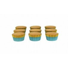 Foil Bake Cups Blue with Gold Trim (Quantity 30)