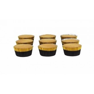 Foil Bake Cups Black with Gold Trim (Quantity 30)