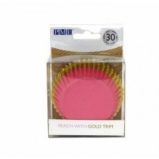 Foil Bake Cups Peach / Pink with Gold Trim (Quantity 30)