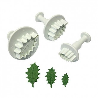 Veined Holly Leaf cutter and plunger (Set of 3)