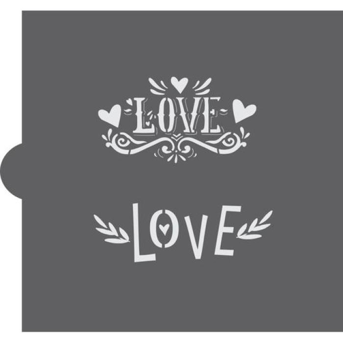 Retro Love Cookie Stencil