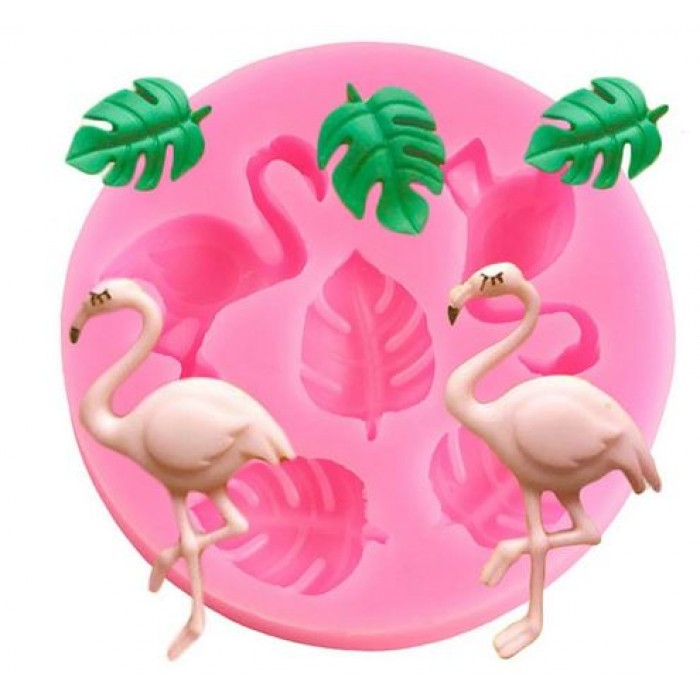 Flamingos and Palm Leaves Mini Silicone Mold