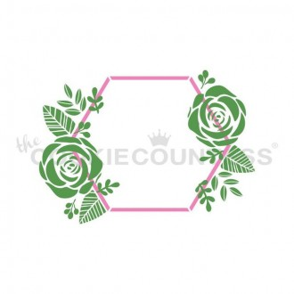 2 Piece Hexagon and Flowers Stencil