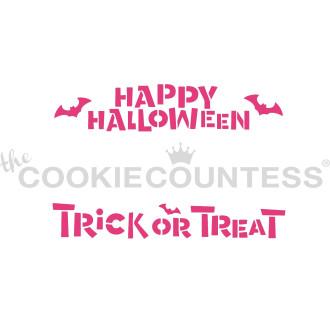 Cookie Stick Stencil- Happy Halloween, Trick or Treat Stencil
