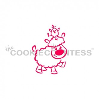 Drawn with character - Lamb with Chick on Head Stencil PYO