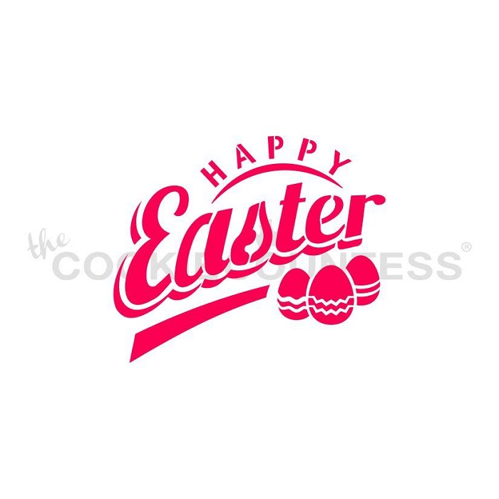 Happy Easter with Eggs Stencil