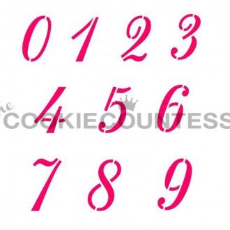 Monogram Collection Script Numbers Stencil