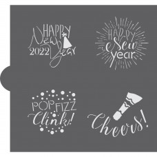 New Years Celebration Words Cookie Stencil 2022