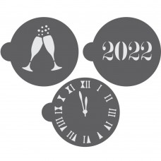 New Year's Eve Round Cookie Stencil 3 Pc Set Oreo and Macaron 2022
