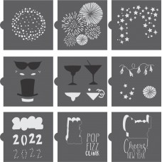 New Year's Eve Cookie Confection Collection 2022 (9 Stencils)