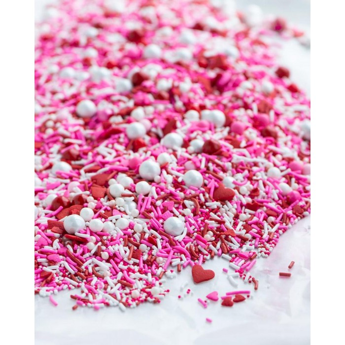 BE MINE Sprinkle Medley from Sweetapolita 4oz Bottle (1/2 cup/NET WT 3.5oz/100g)