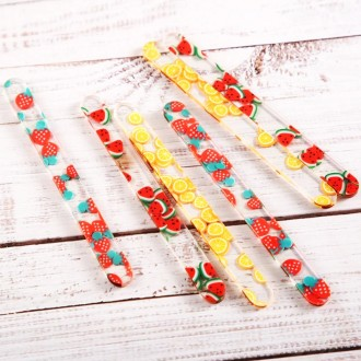 """Acrylic Sticks for Popsicle or Cake Sicle 4-1/2"""" (Package of 10) Slices of Orange / Lemon"""