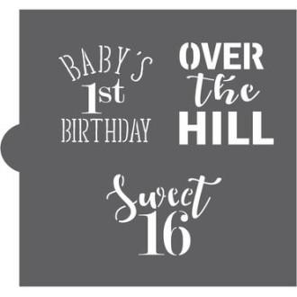 Milestone Birthdays Cookie Stencil