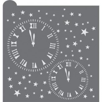 New Years Clocks Cookie Stencil