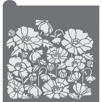 Peonies Prettier Plaques Background Cookie Stencils