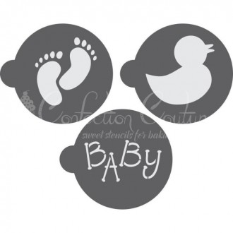 Baby Round Cookie Stencil 3 Pc Set Oreo and Macaron