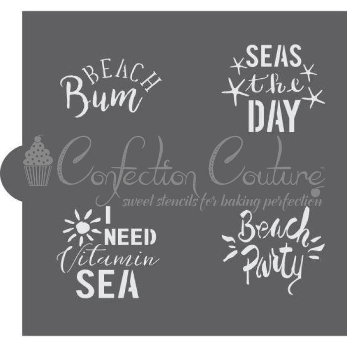 Beach Day Words Cookie Stencil