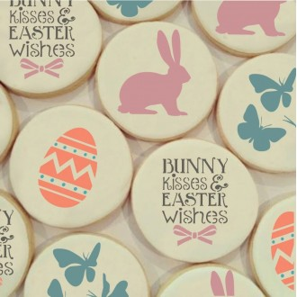 Bunny Kisses and Easter Wishes Cookie Stencil