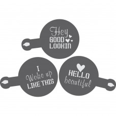 Hello Beautiful Barista Stencil 3 Piece Set